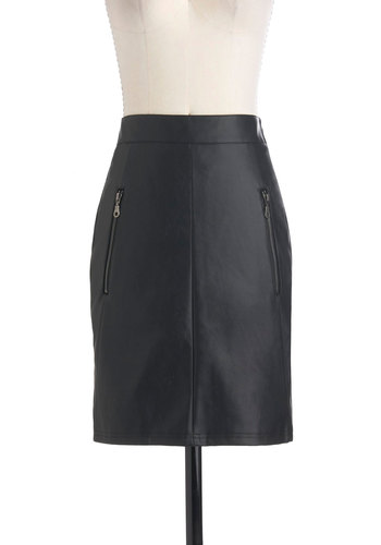Style is a Battlefield Skirt - Black, Solid, Exposed zipper, Pockets, Girls Night Out, Mid-length