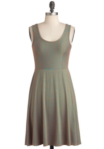 Cheer Up the City Dress in Orange and Teal - Mid-length, Orange, Blue, Stripes, Casual, A-line, Tank top (2 thick straps), Summer, Exclusives, Variation, Scoop