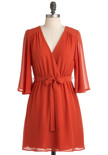 Dreams Cayenne Come True Dress - Short, Orange, Solid, Belted, Fall, Casual, A-line, Long Sleeve, Boho, 70s, Sheer, V Neck