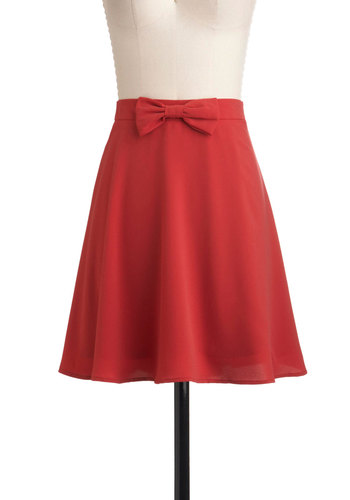 Luck of the Strawberry Skirt - Red, Solid, Bows, A-line, Mid-length, Work, Casual, Vintage Inspired, Scholastic/Collegiate, Fit & Flare