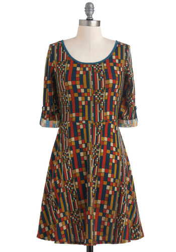 Mosaic Memories Dress - Mid-length, Multi, Red, Yellow, Blue, Print, Casual, Vintage Inspired, 70s, A-line, 3/4 Sleeve, Fall, Tis the Season Sale