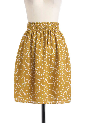 Write Back Soon Skirt - Green, Polka Dots, Casual, Mid-length