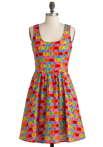Good Enough to Premiere Dress - Mid-length, Multi, Red, Orange, Yellow, Green, Blue, Purple, Pink, Novelty Print, Pockets, Party, Statement, A-line, Tank top (2 thick straps), Neon, Cotton, Fit & Flare, Quirky, Scoop, Best Seller