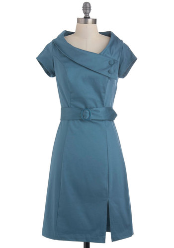 Slate of the Art Dress - Mid-length, Solid, Buttons, Belted, Work, Shift, Short Sleeves, Blue, Pinup, Vintage Inspired, 60s