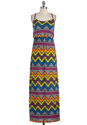 A Touch of Glass Dress - Multi, Print, Casual, Maxi, Spaghetti Straps, Summer, Multi, Neon, Long, Boho, 80s, Beach/Resort