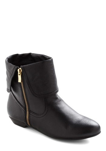 Off the Cuff Bootie - Black, Solid, Exposed zipper, Casual, Fall, Leather, Low