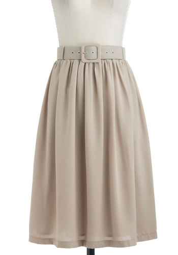 Every Day's an Expedition Skirt - Tan, Solid, Belted, A-line, Work, Minimal, Long
