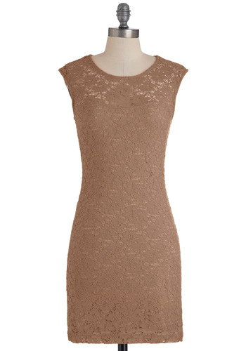 Ruby Blooms Dress in Taupe - Mid-length, Tan, Cutout, Lace, Party, Sheath / Shift, Cap Sleeves, Solid, Sheer