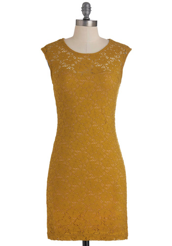 Ruby Blooms Dress in Muted Gold - Yellow, Cutout, Lace, Party, Shift, Cap Sleeves, Solid, Sheer, Variation, Prom, Mid-length