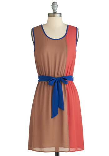 Sample 2178 - Multi, Orange, Tan / Cream, Belted, Casual, A-line, Sleeveless