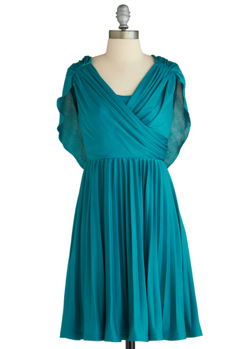 Sample 2207 - Blue, Solid, Pleats, Ruching, Party, A-line, Sleeveless