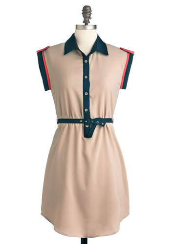Campaign Wishes Dress - Blue, Buttons, Casual, Shirt Dress, Sleeveless, Short, Belted, Scholastic/Collegiate, Collared, Tan