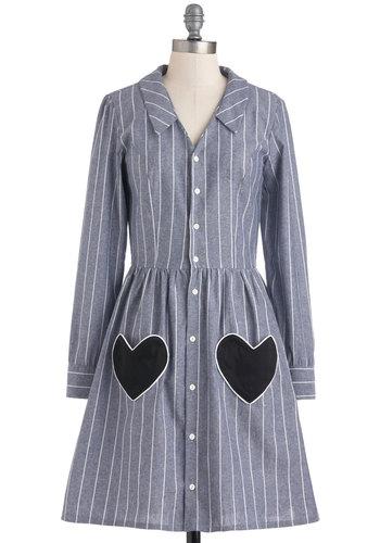 Modern Heart Dress - Blue, White, Stripes, Buttons, Pockets, Casual, Shirt Dress, Long Sleeve, Fall, Black, Cotton, Mid-length