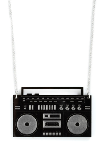 Sweet Beats Necklace by Plastique - Black, Statement, Urban