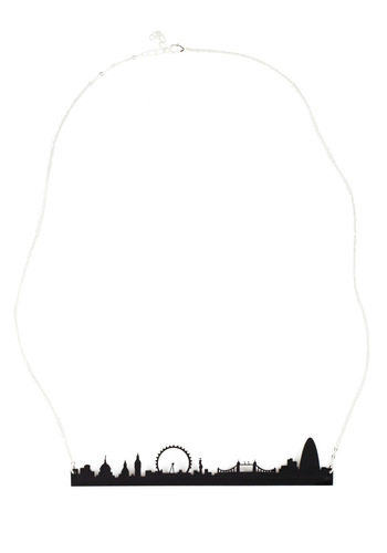 Cities We Love Necklace in London by Plastique - Black, Casual, Statement