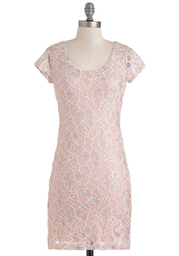 Fresh Princess Dress - Mid-length, Pink, Silver, Party, Sheath / Shift, Cap Sleeves, Lace, Pastel, Glitter, Cocktail