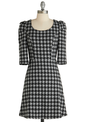 City Smarts Dress - Mid-length, Black, Grey, Houndstooth, Casual, A-line, 3/4 Sleeve, Fall, Scholastic/Collegiate, Work