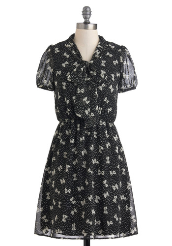 Here We Bow Again Dress - Tan / Cream, Polka Dots, Casual, Vintage Inspired, Short Sleeves, Tie Neck, Mid-length, Black, A-line