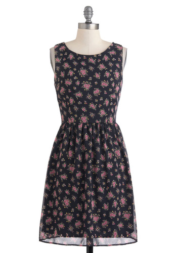 Bouquet of Buds Dress - Blue, Pink, Floral, Casual, Vintage Inspired, A-line, Sleeveless, Mid-length, Multi, Yellow, Green, 90s, Cocktail, Sheer