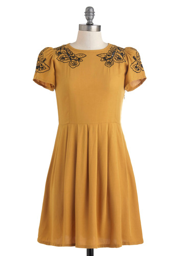 Cumin Right Up Dress by Sugarhill Boutique - Short, Yellow, Black, Solid, Embroidery, Pleats, Party, A-line, Short Sleeves, Vintage Inspired, Fit & Flare, International Designer