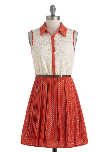 With Sugar on Top Dress - Orange, Tan / Cream, Polka Dots, Buttons, Lace, Shirt Dress, Sleeveless, Belted, Short, Casual, Button Down, Collared