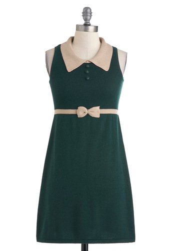 Weekend of Writing Dress by Sugarhill Boutique - Mid-length, Green, Tan / Cream, Solid, Bows, Buttons, Work, Sheath / Shift, Sleeveless, Fall, Scholastic/Collegiate, Sweater Dress, Collared, Mod, International Designer