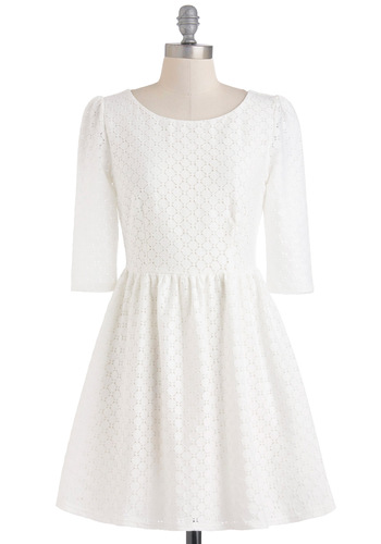 Isn't It Iconic Dress - Mid-length, White, 3/4 Sleeve, Solid, A-line, Casual