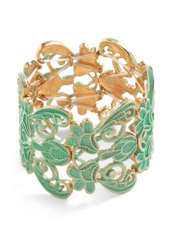 Couldn't Filigree More Bracelet - Green, Gold, Casual, Cocktail, Mint