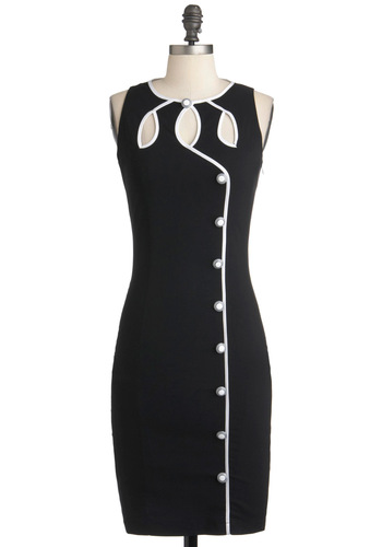 Swell-Heeled Dress - Mid-length, Black, White, Solid, Buttons, Cutout, Sheath / Shift, Sleeveless, Trim, Party, Pinup, Mod
