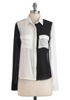 On the Double Top - White, Black, Buttons, Long Sleeve, Mid-length, Cutout, Party, Casual, Statement, Sheer, Button Down, Collared, Colorblocking