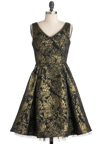 Gilding a Mystery Dress - Mid-length, Black, Gold, Floral, Special Occasion, Party, Fit & Flare, Sleeveless, Film Noir, Luxe, Holiday Party, Cocktail, V Neck
