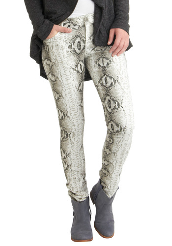 You Got Mad Scales Jeans - White, Tan / Cream, Pockets, Skinny, Print, Party, Casual, Statement, Urban, Girls Night Out, Denim