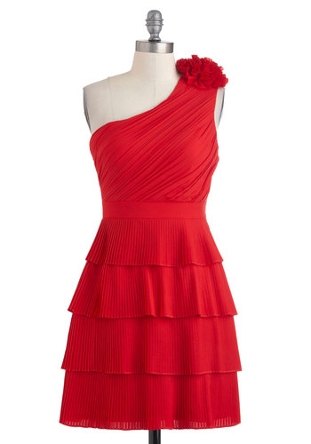 Cali Caliente Dress - Red, Short, Flower, Pleats, Ruching, Wedding, Party, A-line, One Shoulder, Solid, Film Noir, Girls Night Out, Holiday Party