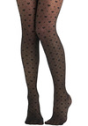 My Heart Skipped Tights - Black, Sheer, Knit, Valentine's, Boudoir