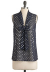 Sea Shell Sleuth Top in Midnight - Mid-length, Blue, Silver, Polka Dots, Tie Neck, Sleeveless, Party, Exclusives, Chiffon, Sheer, V Neck