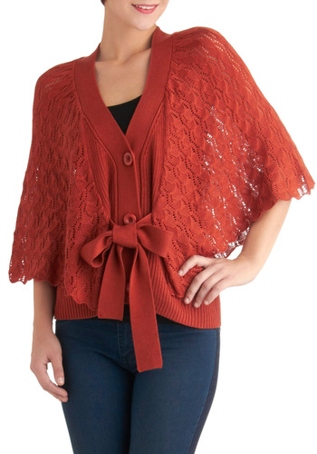 Take a Migration Cardigan - Red, Solid, Buttons, Knitted, Casual, Mid-length, Orange, 3/4 Sleeve, Fall, Sheer, Button Down