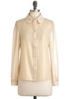 Burnish Line Top - Cream, Solid, Buttons, Long Sleeve, Mid-length, Work, Casual, Sheer, Button Down, Collared