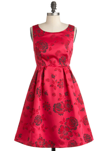 To Speech Her Own Dress - Mid-length, Pink, Red, Grey, Floral, Pleats, Formal, Party, Vintage Inspired, 60s, Sleeveless, Fit & Flare, Satin, Pinup, Prom