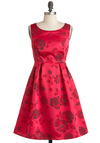 To Speech Her Own Dress - Mid-length, Pink, Red, Grey, Floral, Pleats, Special Occasion, Party, Vintage Inspired, 60s, Sleeveless, Fit & Flare, Satin, Pinup, Prom, Exclusives