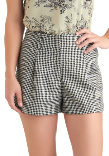 Trend Hunting Shorts - Black, White, Houndstooth, Casual, Scholastic/Collegiate, High Waist