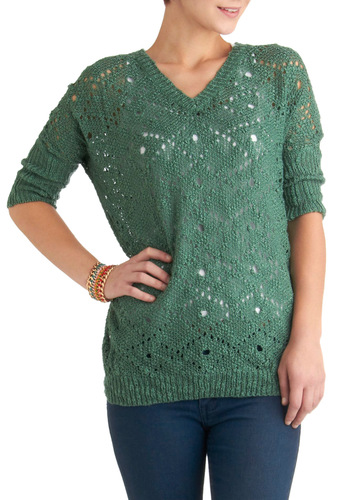 In Your Nature Sweater - Green, Solid, Knitted, Casual, 3/4 Sleeve, Mid-length, Fall, V Neck