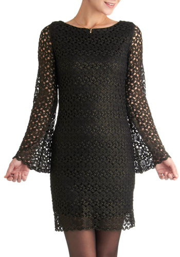 Shadow Dynamics Dress - Mid-length, Black, Crochet, Party, Shift, Long Sleeve