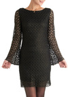 Shadow Dynamics Dress - Mid-length, Black, Crochet, Party, Sheath / Shift, Long Sleeve