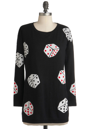Pair O' Dice City Sweater by Sugarhill Boutique - Black, Red, White, Knitted, Long Sleeve, Print, Casual, Mid-length, International Designer