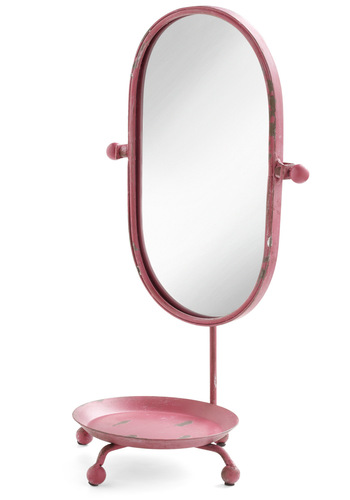 Eloquent Affair Mirror - Pink, Vintage Inspired, Dorm Decor, Quirky, Solid
