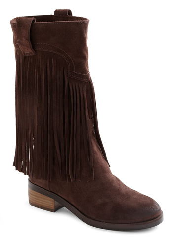 Ins and Outlaws Boot - Brown, Solid, Fringed, Boho, Suede, Rustic, Fall, Leather, Low, Tis the Season Sale