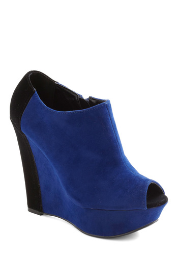 Haute Heredity Wedge - Wedge, Blue, Black, Girls Night Out, Faux Leather, Platform, Peep Toe, High
