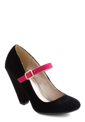 Strut Your Strength Heel - High, Mary Jane, Chunky heel, Colorblocking, Black, Pink, Solid, Party, Holiday Party