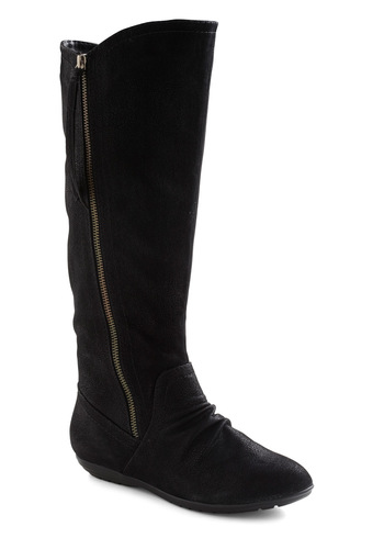 Find Your Feat Boot - Black, Solid, Flat, Exposed zipper, Casual, Fall, Winter, Faux Leather