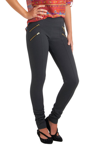 Dressage to Impress Leggings in Charcoal - Grey, Solid, Skinny, Casual, 90s, Girls Night Out